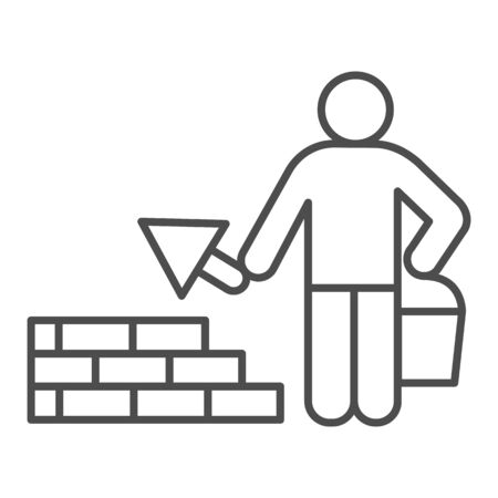 Builder with trowel thin line icon. Worker man build brick masonry wall symbol, outline style pictogram on white background. Construction sign for mobile concept and web design. Vector graphics.