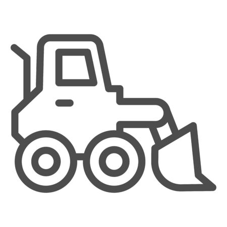 Snow blower line icon. Ice scraper and loader vehicle, plow truck symbol, outline style pictogram on white background. Construction sign for mobile concept and web design. Vector graphics. Illustration