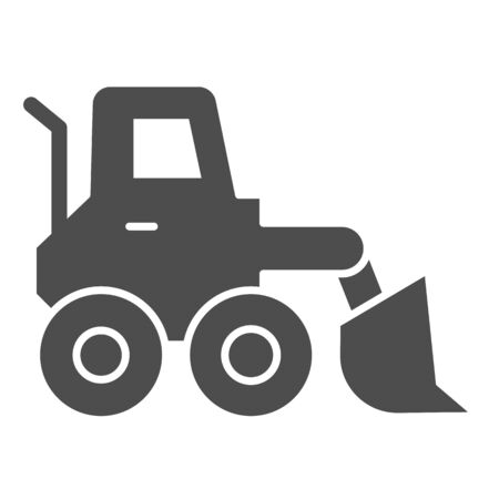 Snow blower solid icon. Ice scraper and loader vehicle, plow truck symbol, glyph style pictogram on white background. Construction sign for mobile concept and web design. Vector graphics.