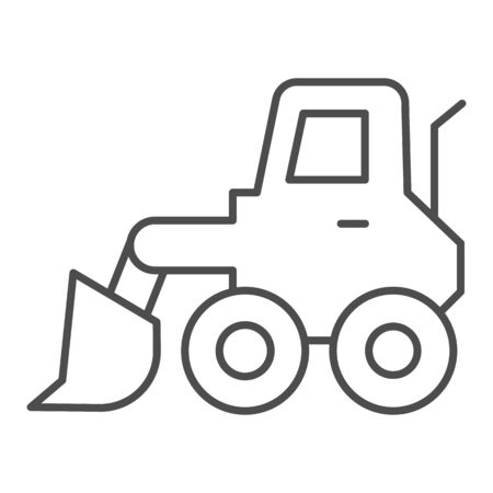 Snow blower thin line icon. Ice scraper and loader vehicle, plow truck symbol, outline style pictogram on white background. Construction sign for mobile concept and web design. Vector graphics.