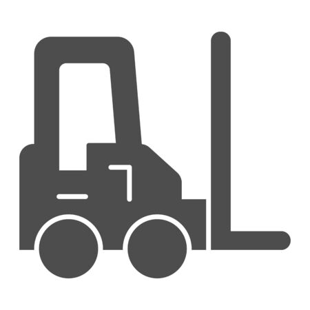 Loader vehicle solid icon. Forklift car and stacker, cargo delivery symbol, glyph style pictogram on white background. Transportation sign for mobile concept or web design. Vector graphics.