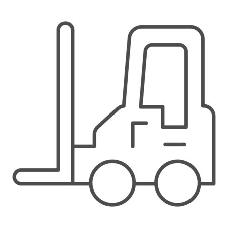 Loader vehicle thin line icon. Forklift car and stacker, cargo delivery symbol, outline style pictogram on white background. Transportation sign for mobile concept or web design. Vector graphics.