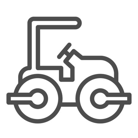 Road paver truck line icon. Roller heavy vehicle for laying asphalt symbol, outline style pictogram on white background. Construction sign for mobile concept and web design. Vector graphics.
