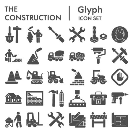Construction solid icon set. Building industry signs collection, sketches, illustrations, web symbols, glyph style pictograms package isolated on white background. Vector graphics.