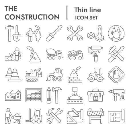 Construction thin line icon set. Building industry signs collection, sketches, illustrations, web symbols, outline style pictograms package isolated on white background. Vector graphics.