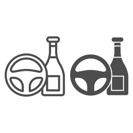 Do not drink and drive line and solid icon. Steering wheel and alcohol bottle symbol, outline style pictogram on white background. Car accident sign for mobile concept and web design.