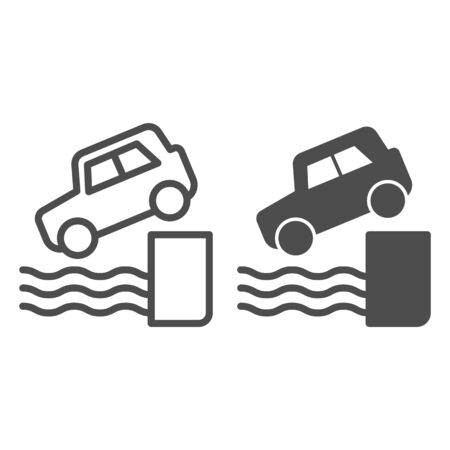 Water car accident line and solid icon. Vehicle falling down into sea symbol, outline style pictogram on white background. Safe driving sign for mobile concept and web design.