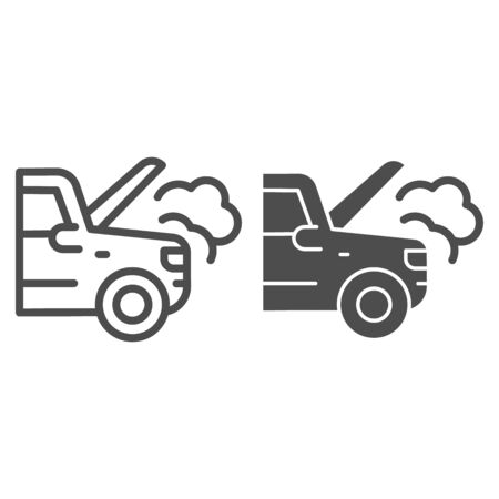 Emergency stop for auto line and solid icon. Broken vehicle with engine fumes symbol, outline style pictogram on white background. Car accident sign for mobile concept, web design. Illustration