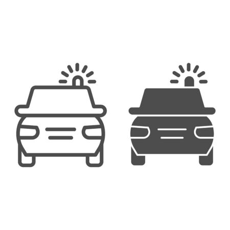 Police car line and solid icon. Cop automobile with rooftop flashing lights symbol, outline style pictogram on white background. Road accident sign for mobile concept and web design. Ilustração