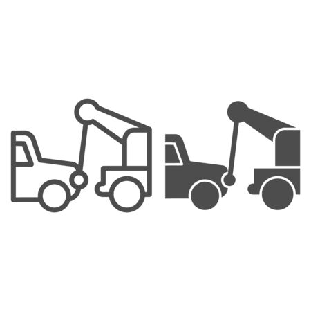 Tow truck line and solid icon. Vehicle salvage with hooked damaged auto symbol, outline style pictogram on white background. Car accident sign for mobile concept and web design.