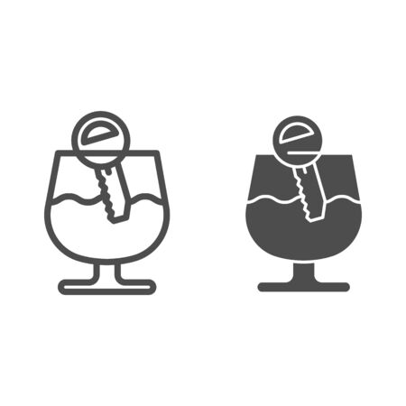 Alcohol drunk driver line and solid icon. Vehicle engine key in glass of wine symbol, outline style pictogram on white background. Car accident sign for mobile concept and web design.