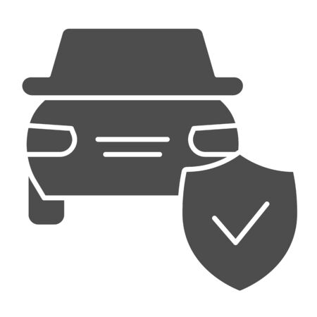 Car protection emblem solid icon. Vehicle with shield, safe driving symbol, glyph style pictogram on white background. Auto accident sign for mobile concept and web design.
