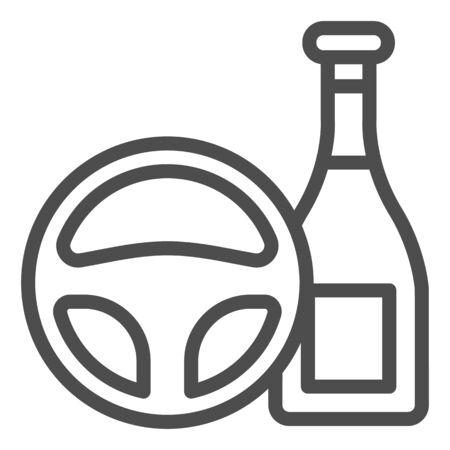Do not drink and drive line icon. Steering wheel and alcohol bottle symbol, outline style pictogram on white background. Car accident sign for mobile concept and web design. Ilustrace