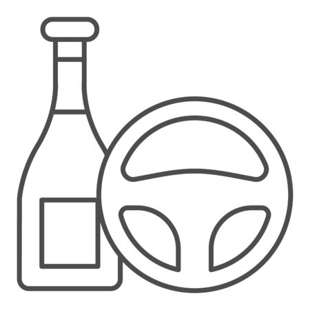 Do not drink and drive thin line icon. Steering wheel and alcohol bottle symbol, outline style pictogram on white background. Car accident sign for mobile concept and web design. 向量圖像