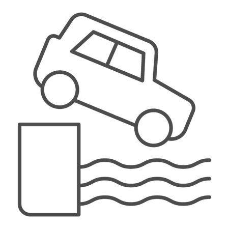 Water car accident thin line icon. Vehicle falling down into sea symbol, outline style pictogram on white background. Safe driving sign for mobile concept and web design.