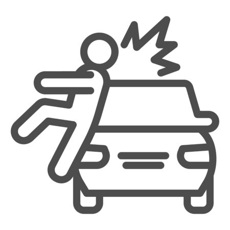 Collision with pedestrian line icon. Vehicle knock down man with smash symbol, outline style pictogram on white background. Car accident sign for mobile concept, web design.