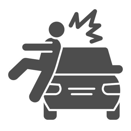 Collision with pedestrian solid icon. Vehicle knock down man with smash symbol, glyph style pictogram on white background. Car accident sign for mobile concept, web design.