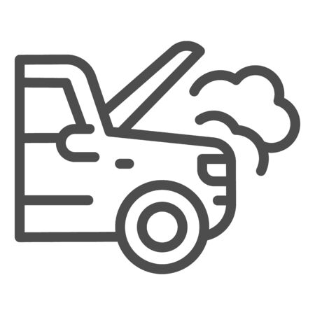 Emergency stop for auto line icon. Broken vehicle with engine fumes symbol, outline style pictogram on white background. Car accident sign for mobile concept, web design.