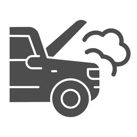 Emergency stop for auto solid icon. Broken vehicle with engine fumes symbol, glyph style pictogram on white background. Car accident sign for mobile concept, web design. Illustration