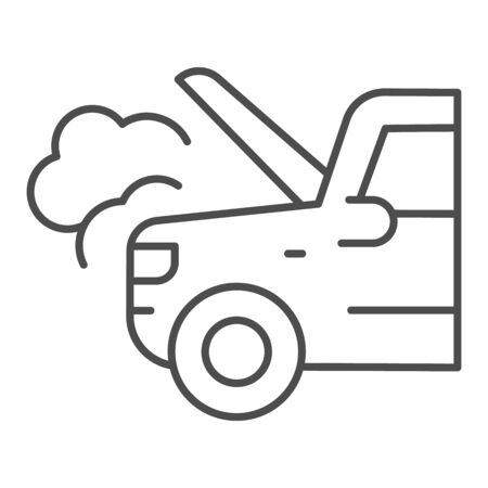 Emergency stop for auto thin line icon. Broken vehicle with engine fumes symbol, outline style pictogram on white background. Car accident sign for mobile concept, web design.