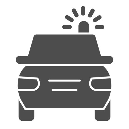 Police car solid icon. Cop automobile with rooftop flashing lights symbol, glyph style pictogram on white background. Road accident sign for mobile concept and web design.