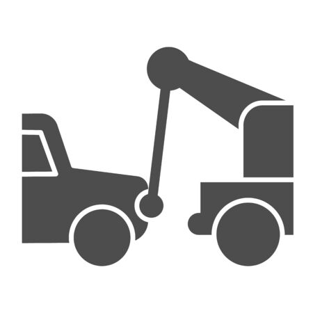 Tow truck solid icon. Vehicle salvage with hooked damaged auto symbol, glyph style pictogram on white background. Car accident sign for mobile concept and web design. Vector graphics. Vecteurs