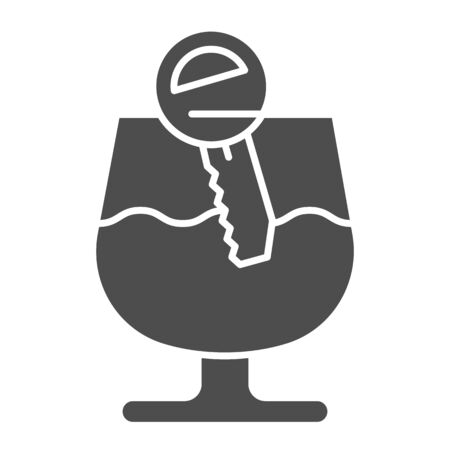 Alcohol drunk driver solid icon. Vehicle engine key in glass of wine symbol, glyph style pictogram on white background. Car accident sign for mobile concept and web design. Vector graphics.