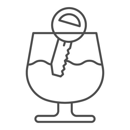 Alcohol drunk driver thin line icon. Vehicle engine key in glass of wine symbol, outline style pictogram on white background. Car accident sign for mobile concept and web design. Vector graphics.