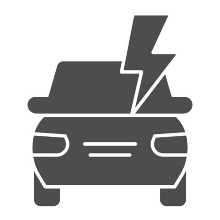 Electric car battery solid icon. Automobile power, lightning, safe driving symbol, glyph style pictogram on white background. Transport sign for mobile concept, web design. Vector graphics. Vettoriali