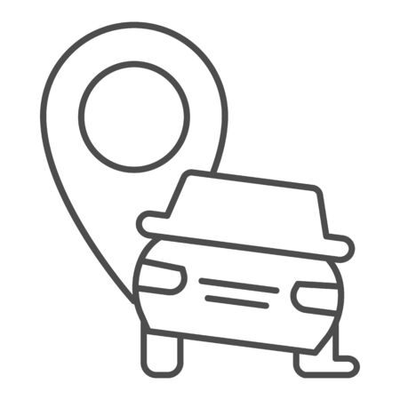 Car crash location thin line icon. Auto with map pin pointer, safe driving symbol, outline style pictogram on white background. Road accident sign for mobile concept, web design. Vector graphics. Vettoriali