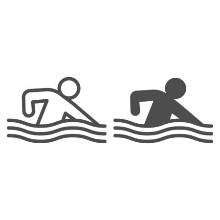Swimming pool or sea line and solid icon. Sportsman swim in water with wave symbol, outline style pictogram on white background. Healthy lifestyle sign for mobile concept, web design. Vector graphics