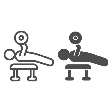 Weightlifting exercise line and solid icon. Bodybuilder lay and exercise with barbell symbol, outline style pictogram on white background. Fitness sign for mobile concept, web design. Vector graphics Ilustrace