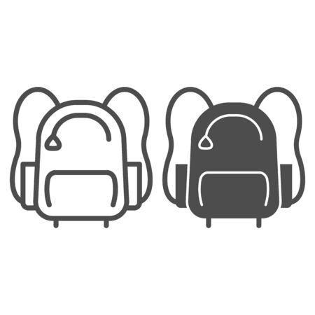 Sports backpack line and solid icon. Sportsman daypack bag with handles symbol, outline style pictogram on white background. Healthy lifestyle sign for mobile concept and web design. Vector graphics
