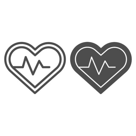 Heart pulse tracker line and solid icon. Sportsman heartbeat rate in love shape symbol, outline style pictogram on white background. Fitness sign for mobile concept and web design. Vector graphics