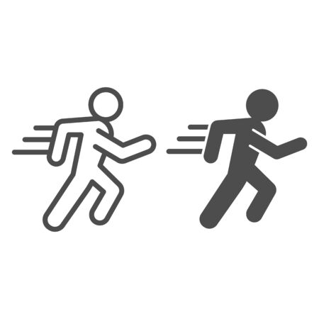 Runner line and solid icon. Sportsman running with speed motion symbol, outline style pictogram on white background. Healthy lifestyle or sport sign for mobile concept and web design. Vector graphics