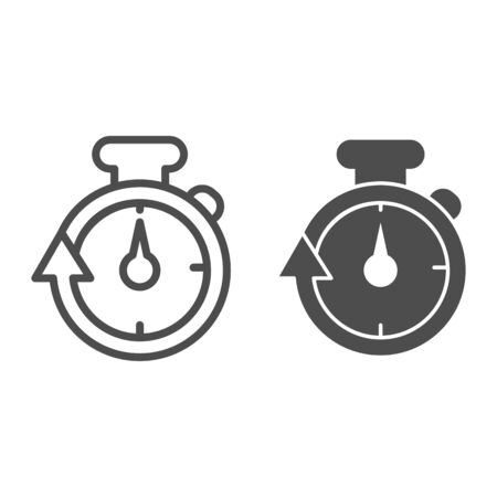 Stopwatch line and solid icon. Speedometer with arrow around timer symbol, outline style pictogram on white background. Healthy lifestyle or sport sign for mobile concept, web design. Vector graphics