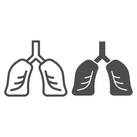 Lungs organ line and solid icon. Healthy human detailed anatomy of respiratory system symbol, outline style pictogram on white background. Fitness sign for mobile concept, web design. Vector graphics