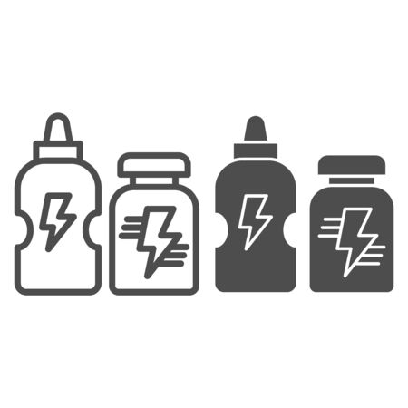 Healthy nutrition drink line and solid icon. Sport shakers with protein supplement symbol, outline style pictogram on white background. Fitness sign for mobile concept and web design. Vector graphics