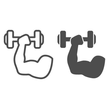 Muscle hand with weights line and solid icon. Sport muscular arm holding dumbbell symbol, outline style pictogram on white background. Fitness sign for mobile concept and web design. Vector graphics Ilustrace