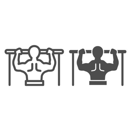 Horizontal bar and athlete line and solid icon. Sportsman doing pull-ups symbol, outline style pictogram on white background. Healthy lifestyle sign for mobile concept and web design. Vector graphics Ilustrace