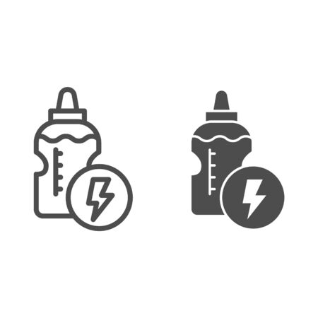 Energy drink bottle line and solid icon. Power liquid and lightening symbol, outline style pictogram on white background. Fitness or sport sign for mobile concept and web design. Vector graphics Çizim