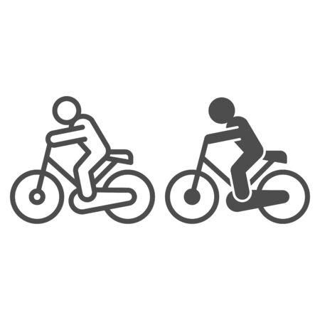 Cyclist line and solid icon. Cycle exercise, sportsman and bike symbol, outline style pictogram on white background. Healthy lifestyle or sport sign for mobile concept and web design. Vector graphics Ilustrace