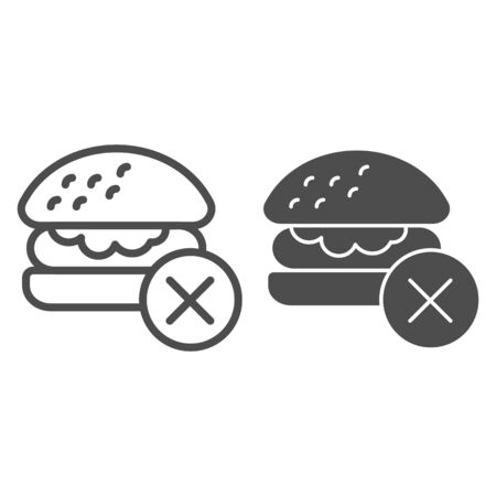 Prohibition of fast food line and solid icon. No greasy burger and healthy lifestyle symbol, outline style pictogram on white background. Fitness sign for mobile concept, web design. Vector graphics