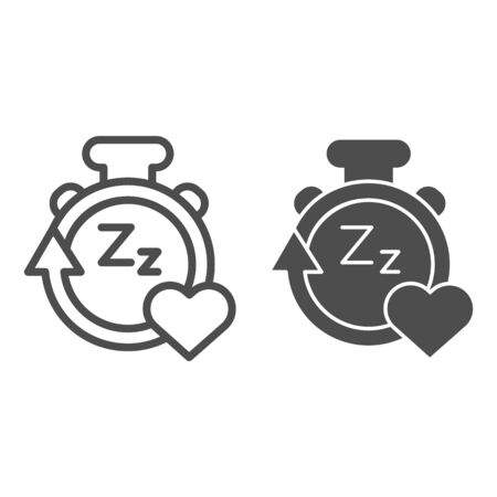 Sleep duration tracker line and solid icon. Gadget with arrow and heart symbol, outline style pictogram on white background. Healthy lifestyle sign for mobile concept and web design. Vector graphics Ilustrace