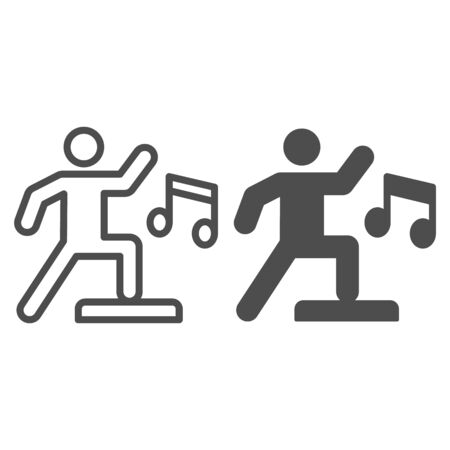 Sport step training line and solid icon. Fitness gym exercise with music symbol, outline style pictogram on white background. Healthy lifestyle sign for mobile concept and web design. Vector graphics