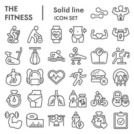 Fitness line icon set. Health care and sport signs collection, sketches, logo illustrations, web symbols, outline style pictograms package isolated on white background. Vector graphics. Ilustrace