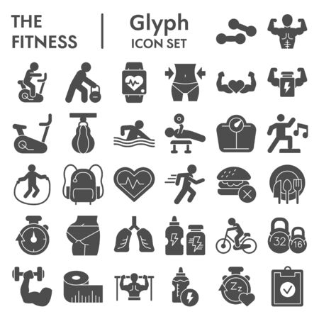 Fitness solid icon set. Health care and sport signs collection, sketches, logo illustrations, web symbols, glyph style pictograms package isolated on white background. Vector graphics.