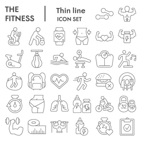 Fitness thin line icon set. Health care and sport signs collection, sketches, logo illustrations, web symbols, outline style pictograms package isolated on white background. Vector graphics.