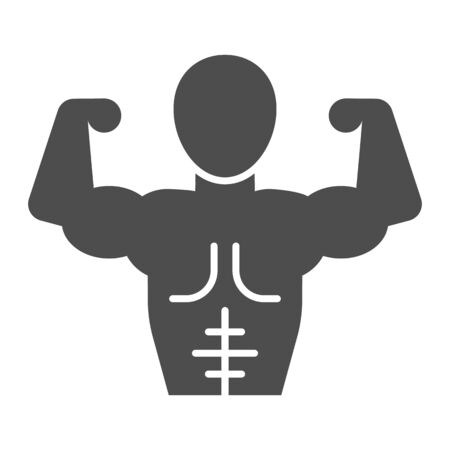 Muscular man line and solid icon. Bodybuilder fitness model with muscles symbol, outline style pictogram on white background. Healthy lifestyle sign for mobile concept and web design. Vector graphics.