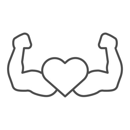 Strong athlete hands line and solid icon. Heart with muscle arms symbol, outline style pictogram on white background. Healthy lifestyle or fitness sign for mobile concept, web design. Vector graphics.